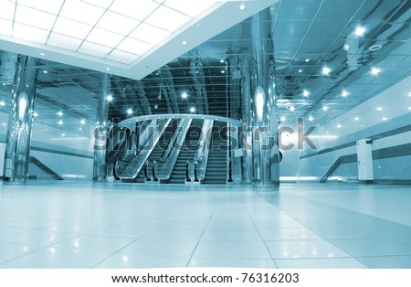 Entrance with escalators - stock photo