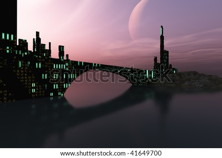 ENTRANCEMENT - A beautiful city is reflected in calm waters on another world out in the galaxy. - stock photo
