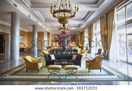 entree hall in luxury hotel  - stock photo