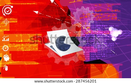 Entrepreneur - Business Data Processing - Stock Image - stock photo
