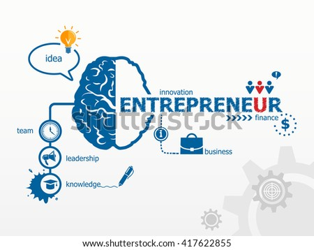 Entrepreneur concept and brain. Hand writing Entrepreneur with blue marker, raster version