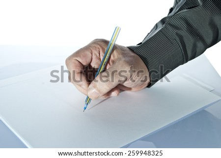 Entrepreneur filling the tax form