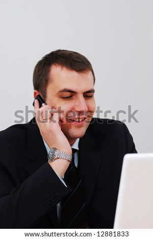 Entrepreneur talking on the phone in the office