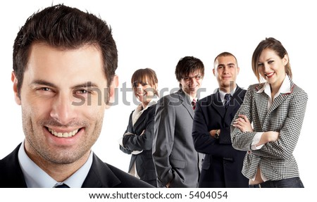 Entrepreneur - with his team behind him - people in the background are all in focus - isolated white background - also check the blue background version