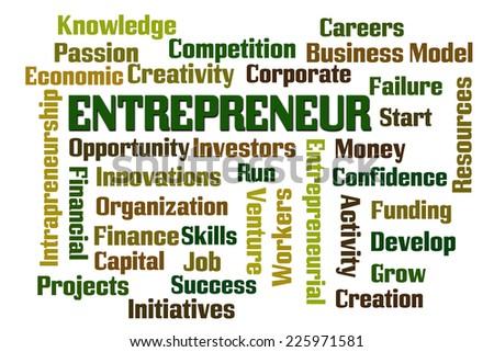 Entrepreneur word cloud on white background - stock photo