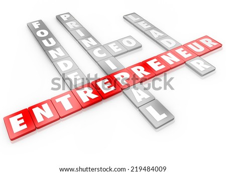 Entrepreneur word on 3d letter tiles with top position titles like founder, principal, ceo and leader of a business or company - stock photo