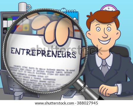 Entrepreneurs.  Officeman Welcomes in Office and Holding a Paper with Inscription through Magnifier. Colored Modern Line Illustration in Doodle Style. - stock photo