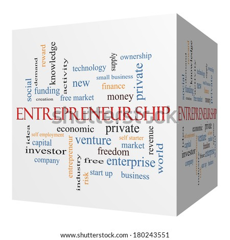 Entrepreneurship 3D cube Word Cloud Concept with great terms such as economic, private, venture and more. - stock photo