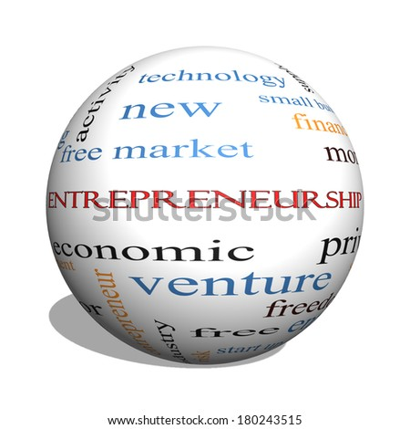 Entrepreneurship 3D sphere Word Cloud Concept with great terms such as economic, private, venture and more. - stock photo