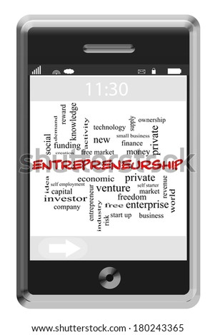Entrepreneurship Word Cloud Concept of Touchscreen Phone with great terms such as private, ownership, ideas and more. - stock photo