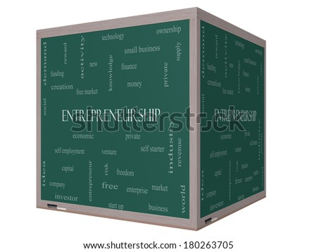 Entrepreneurship Word Cloud Concept on a 3D Blackboard with great terms such as economic, private, venture and more. - stock photo