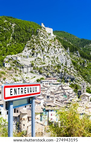 Entrevaux, Provence, France - stock photo