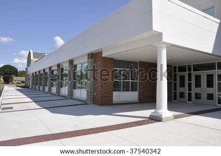 entry doors for a modern school building - stock photo