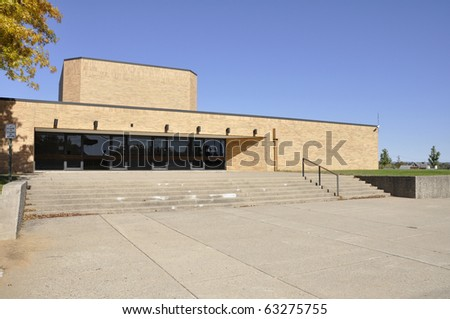 entry doors for a modern school building.  The school is in Whitehall, Pennsylvania. - stock photo