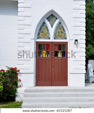 Entry Doors Old Church Stained Glass Stock Photo Royalty Free