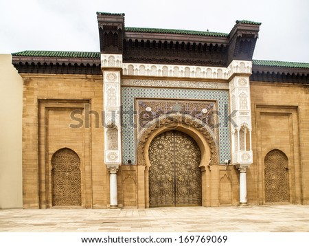 Entry doors to the Royal Palace in Casablanca, Morocco       - stock photo