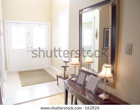 entry hall house white doors windows stock photo royalty free