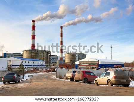 entry into combine heat and power station - stock photo