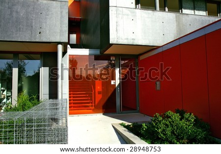 entry of modern building - stock photo