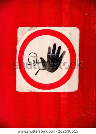 entry prohibited sign, do not enter, keep out, entrance forbidden - stock photo