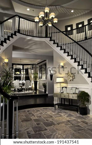 Entry Staircase This Luxury Stairway Entry Architecture Stock Images, Photos of Staircase, Living room, Dining Room, Bathroom, Kitchen, Bed room, Office, Interior photography.  - stock photo