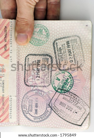 entry stamps and visa in a uk passport