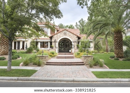 Entry Way To Upscale Suburban House - stock photo