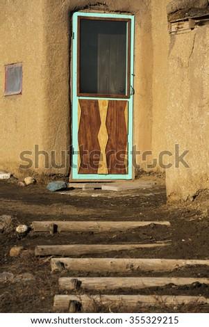 Entryway at The Taos Pueblo in New Mexico - stock photo