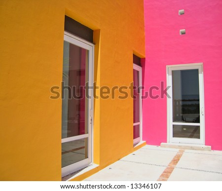 entryway to a tropical beach resort - stock photo
