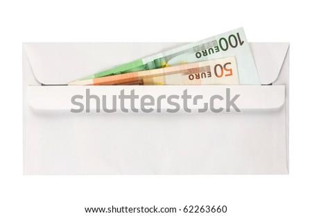 Envelop with euros isolated on white - stock photo