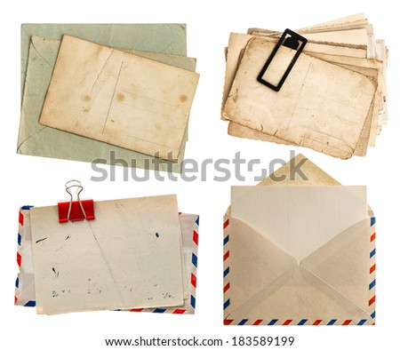 envelope air mail and postcards isolated on white background. retro design papers - stock photo