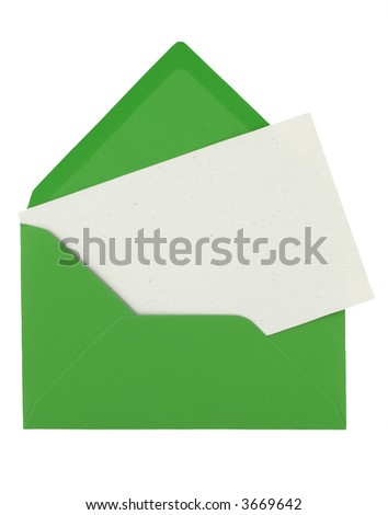 envelope and blank note with space for your content - stock photo