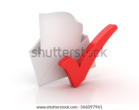 Envelope and Check Mark - High Quality 3D Render - stock photo