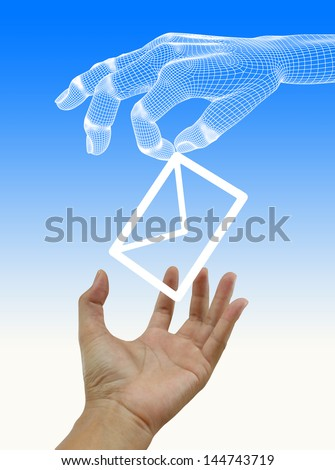 Envelope and e-mail in the hands - stock photo