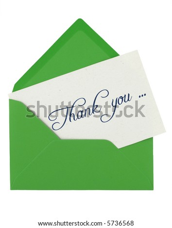 envelope and thank  you note - stock photo