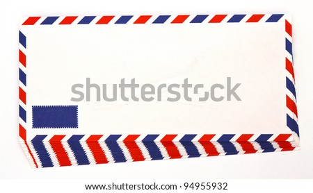 Envelope by air mail isolated