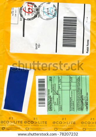 Envelope cardboard background with mail symbols fo background