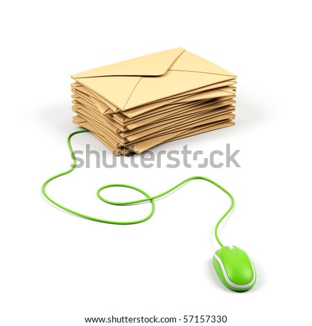 Envelope connected to a computer mouse. - stock photo