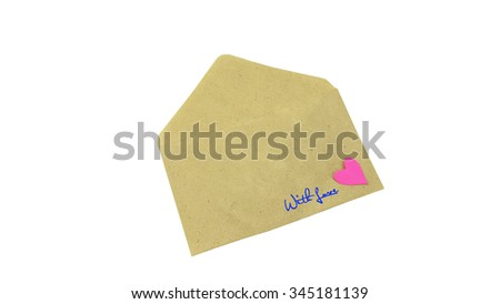 Envelope filled with heart and text WITH LOVE as a romantic love letter, composition isolated over the white background. Love concept.