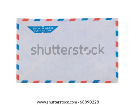 Envelope for airmail in front of white background with clipping path