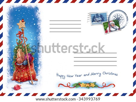 Envelope for letters to Santa's, bag with gifts, New Year, Christmas - stock photo