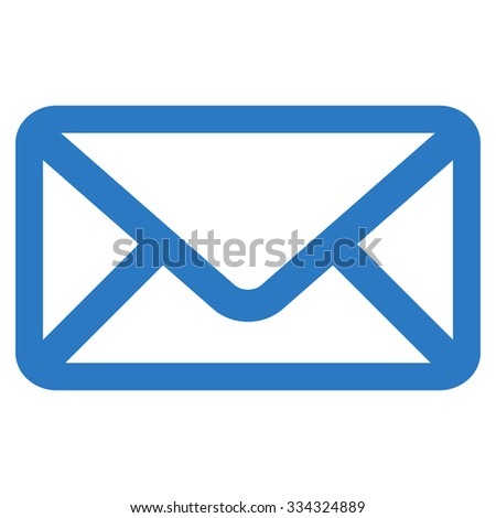 Envelope glyph icon. Style is flat symbol, smooth blue color, rounded angles, white background.