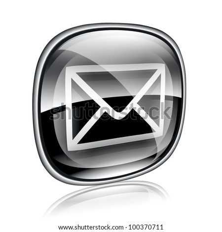envelope icon black glass, isolated on white background