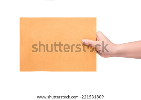 Envelope in the hand isolated on white background with Clipping Part - stock photo