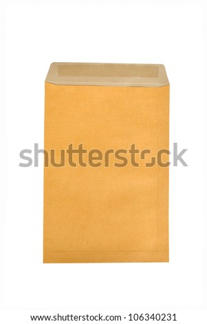 Envelope. Isolated Brown paper bag on white background - stock photo