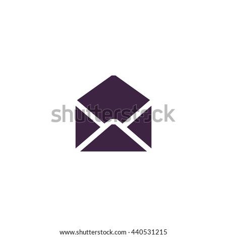 Envelope Mail. Simple blue icon on white background - stock photo