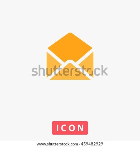 Envelope Mail. White circle button on black background - stock photo