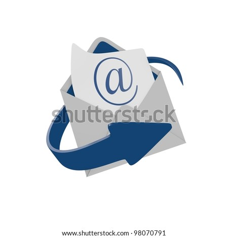 Envelope mail with blue arrow - stock photo
