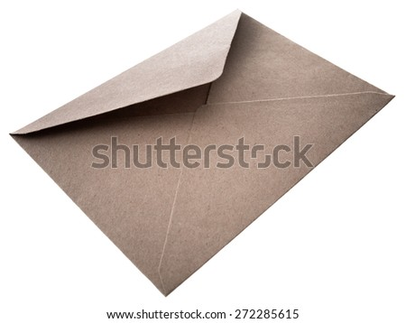 envelope of brown paper isolated on white background - stock photo