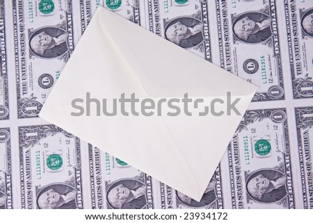 envelope on american money background - stock photo